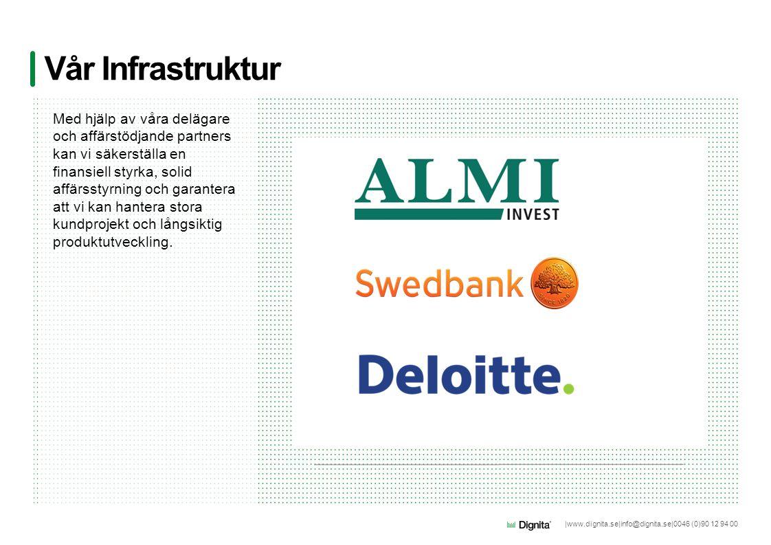 |www.dignita.se|info@dignita.se|0046 (0)90 12 94 00 Vår Infrastruktur Med hjälp av våra delägare och affärstödjande partners kan vi säkerställa en fin