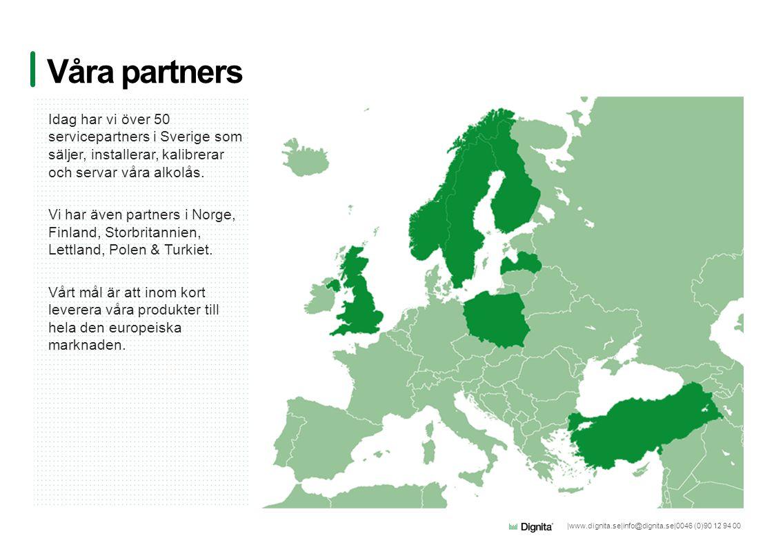 |www.dignita.se|info@dignita.se|0046 (0)90 12 94 00 Idag har vi över 50 servicepartners i Sverige som säljer, installerar, kalibrerar och servar våra