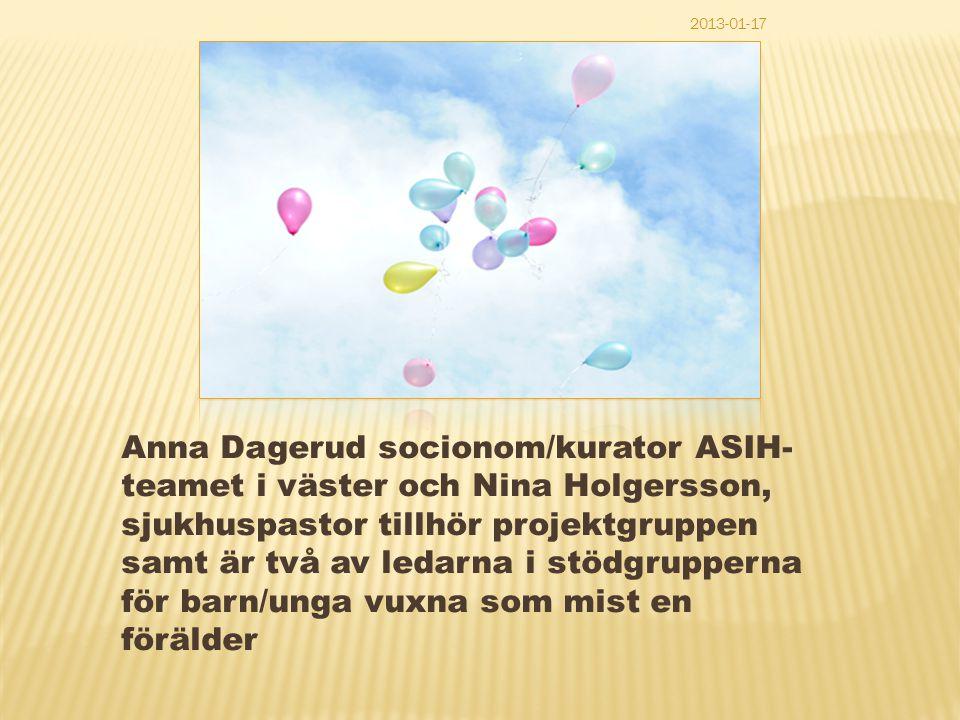 Anna Dagerud socionom/kurator ASIH- teamet i väster och Nina Holgersson, sjukhuspastor tillhör projektgruppen samt är två av ledarna i stödgrupperna f