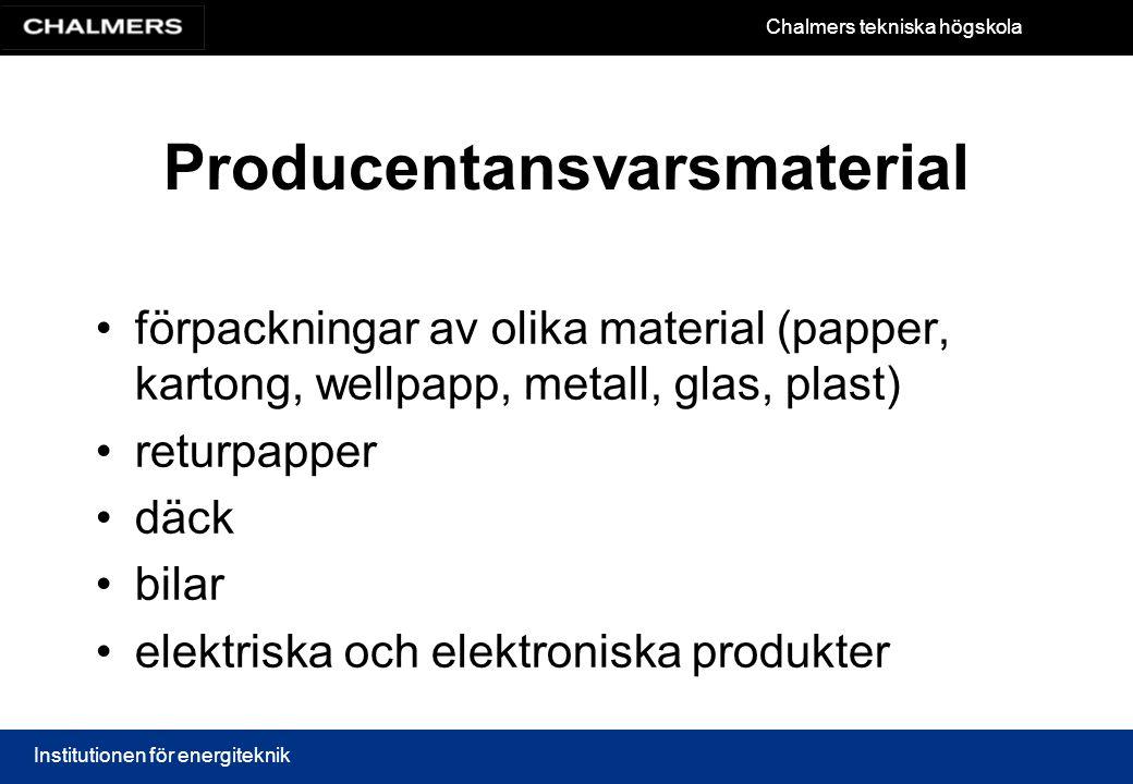 Chalmers tekniska högskola Institutionen för energiteknik Producentansvarsmaterial förpackningar av olika material (papper, kartong, wellpapp, metall,