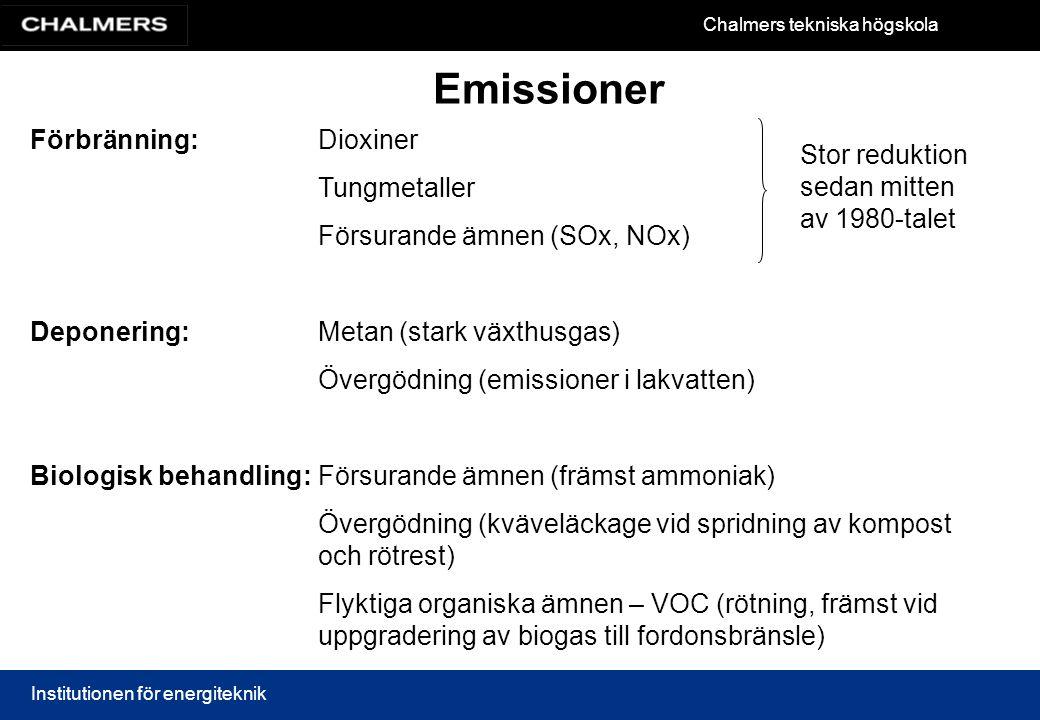 Chalmers tekniska högskola Institutionen för energiteknik Emissioner Förbränning:Dioxiner Tungmetaller Försurande ämnen (SOx, NOx) Deponering:Metan (s