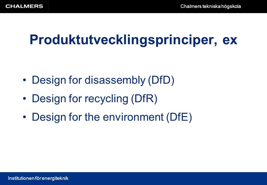 Chalmers tekniska högskola Institutionen för energiteknik Produktutvecklingsprinciper, ex Design for disassembly (DfD) Design for recycling (DfR) Desi