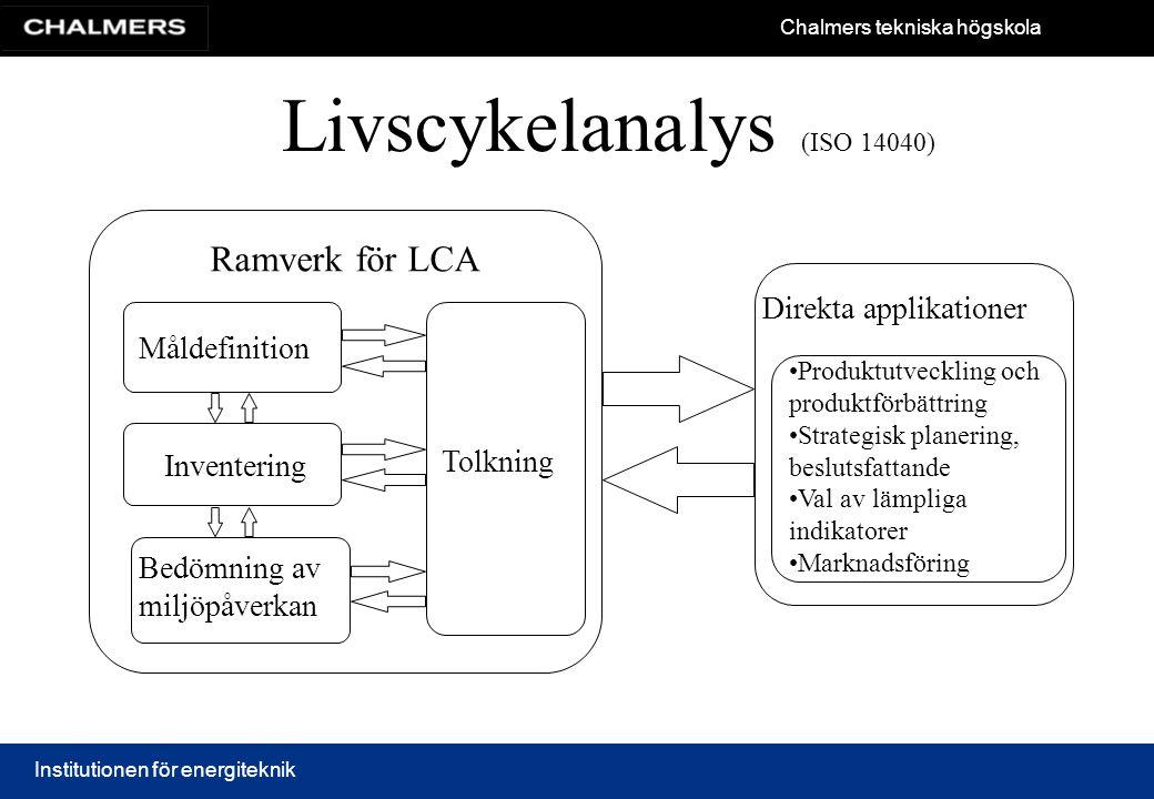 Chalmers tekniska högskola Institutionen för energiteknik Livscykelanalys (ISO 14040) Ramverk för LCA Måldefinition Inventering Bedömning av miljöpåve