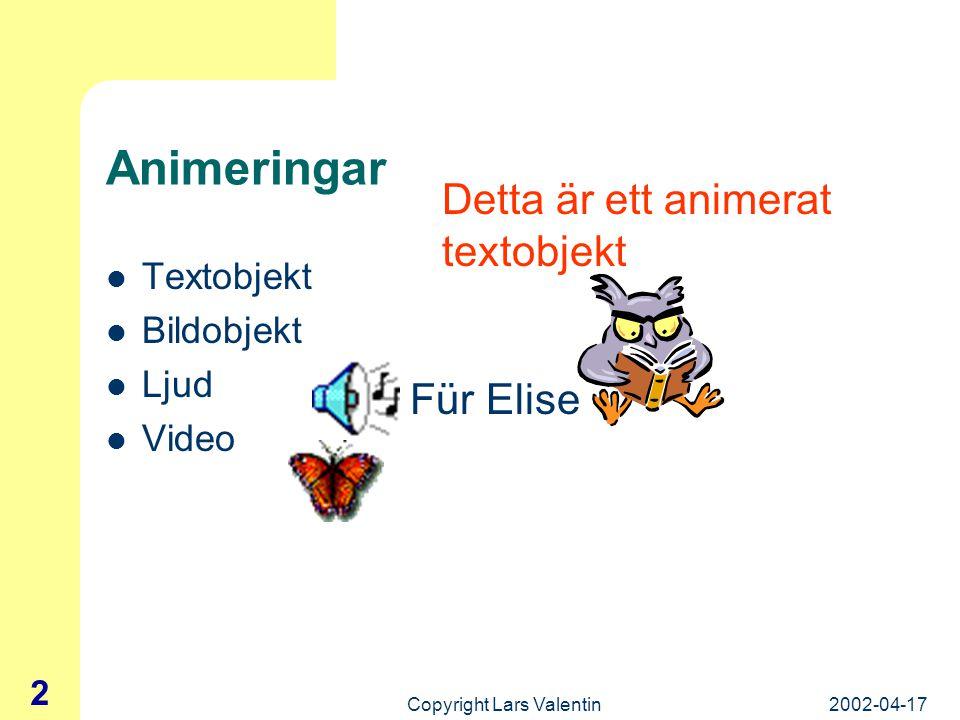 2002-04-17Copyright Lars Valentin 12 Formgivningsmallar (forts.) Format – Använd formgivningsmall