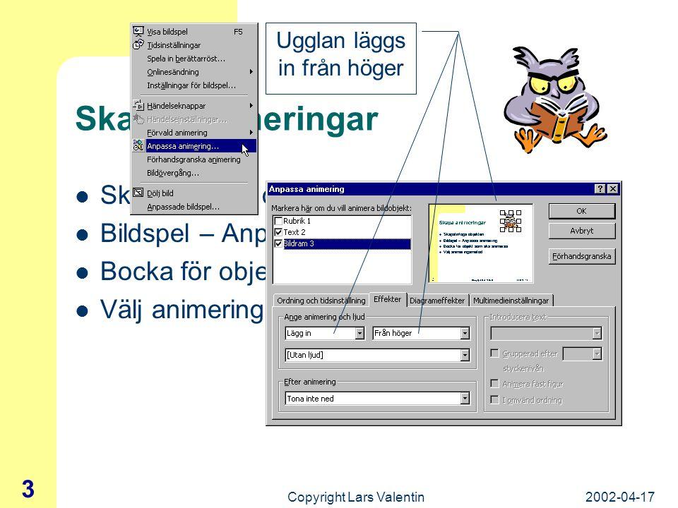 2002-04-17Copyright Lars Valentin 3 Skapa animeringar Skapa/infoga objekten Bildspel – Anpassa animering Bocka för objekt som ska animeras Välj animeringsmetod Ugglan läggs in från höger