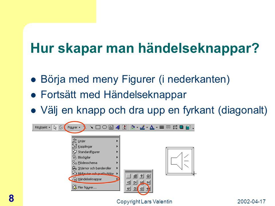 2002-04-17Copyright Lars Valentin 7 Händelseknappar Knappar som kan göra bildspelet mer interaktivt Hoppa till bild, ljud, länkar, starta program, … H