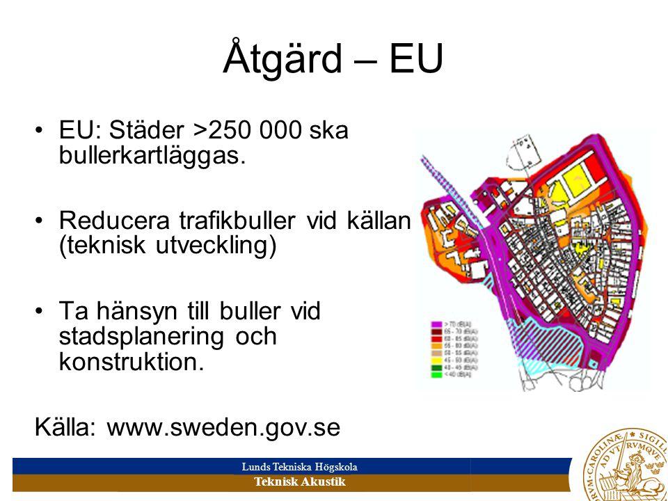 Lunds Tekniska Högskola Teknisk Akustik Åtgärd – EU EU: Städer >250 000 ska bullerkartläggas.
