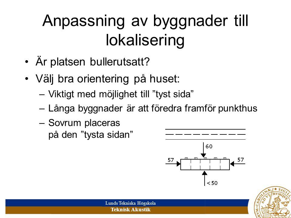 Lunds Tekniska Högskola Teknisk Akustik Anpassning av byggnader till lokalisering Är platsen bullerutsatt.