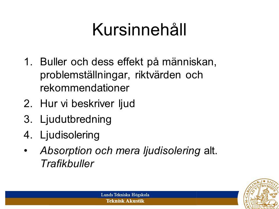 Lunds Tekniska Högskola Teknisk Akustik Kursinnehåll 1.Buller och dess effekt på människan, problemställningar, riktvärden och rekommendationer 2.Hur vi beskriver ljud 3.Ljudutbredning 4.Ljudisolering Absorption och mera ljudisolering alt.