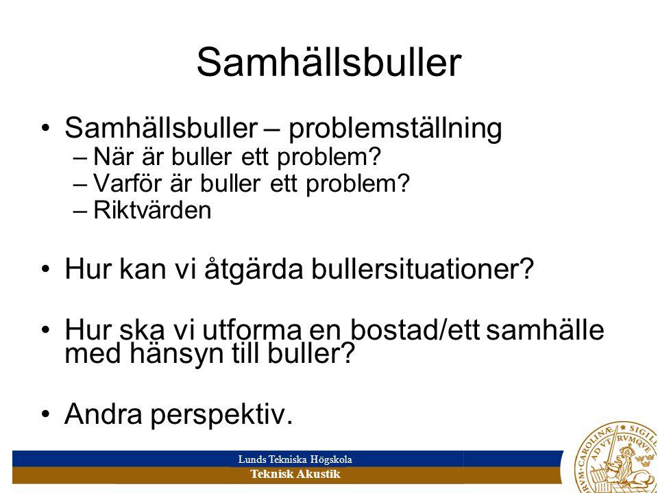 Lunds Tekniska Högskola Teknisk Akustik Samhällsbuller – problemställning –När är buller ett problem.