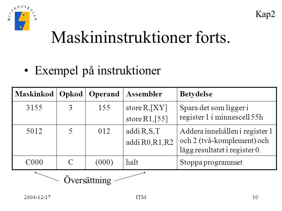 2004-12-17ITM10 Maskininstruktioner forts. Exempel på instruktioner MaskinkodOpkodOperandAssemblerBetydelse 31553155store R,[XY] store R1,[55] Spara d