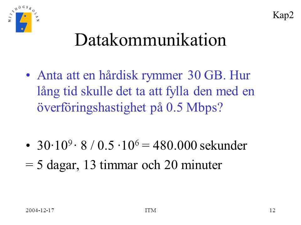 2004-12-17ITM12 Datakommunikation Anta att en hårdisk rymmer 30 GB. Hur lång tid skulle det ta att fylla den med en överföringshastighet på 0.5 Mbps?