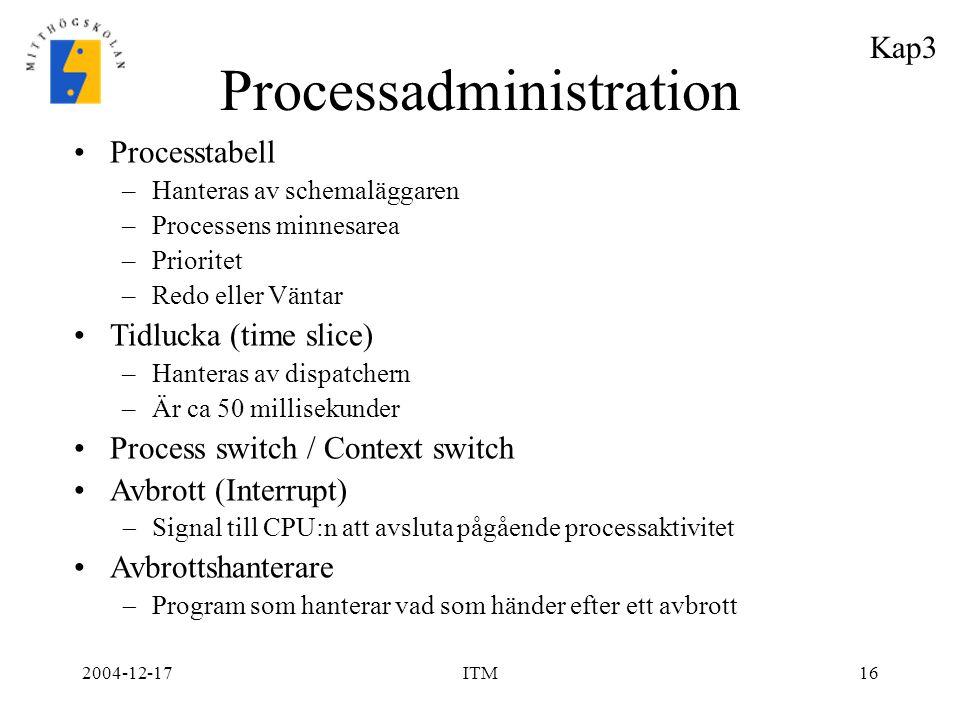2004-12-17ITM16 Processadministration Processtabell –Hanteras av schemaläggaren –Processens minnesarea –Prioritet –Redo eller Väntar Tidlucka (time sl