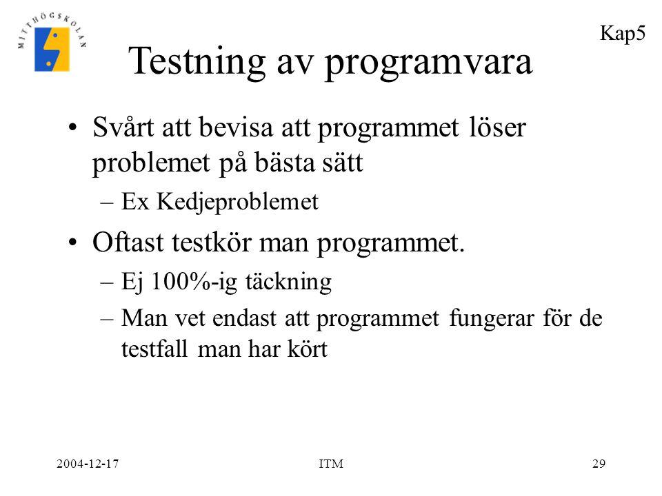2004-12-17ITM29 Svårt att bevisa att programmet löser problemet på bästa sätt –Ex Kedjeproblemet Oftast testkör man programmet. –Ej 100%-ig täckning –