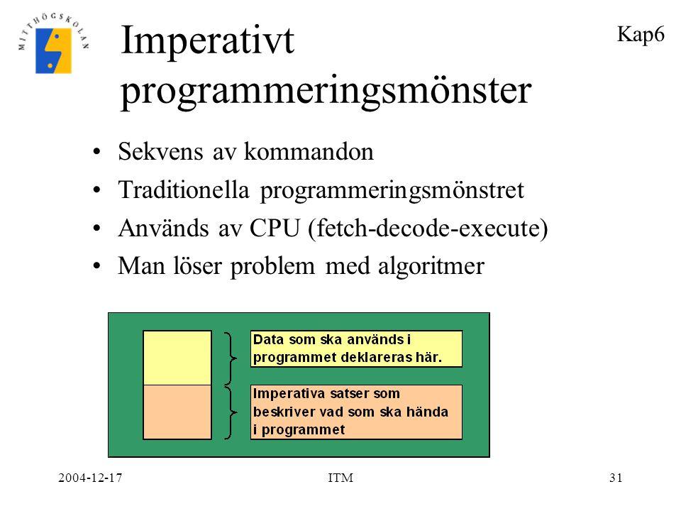 2004-12-17ITM31 Imperativt programmeringsmönster Sekvens av kommandon Traditionella programmeringsmönstret Används av CPU (fetch-decode-execute) Man l