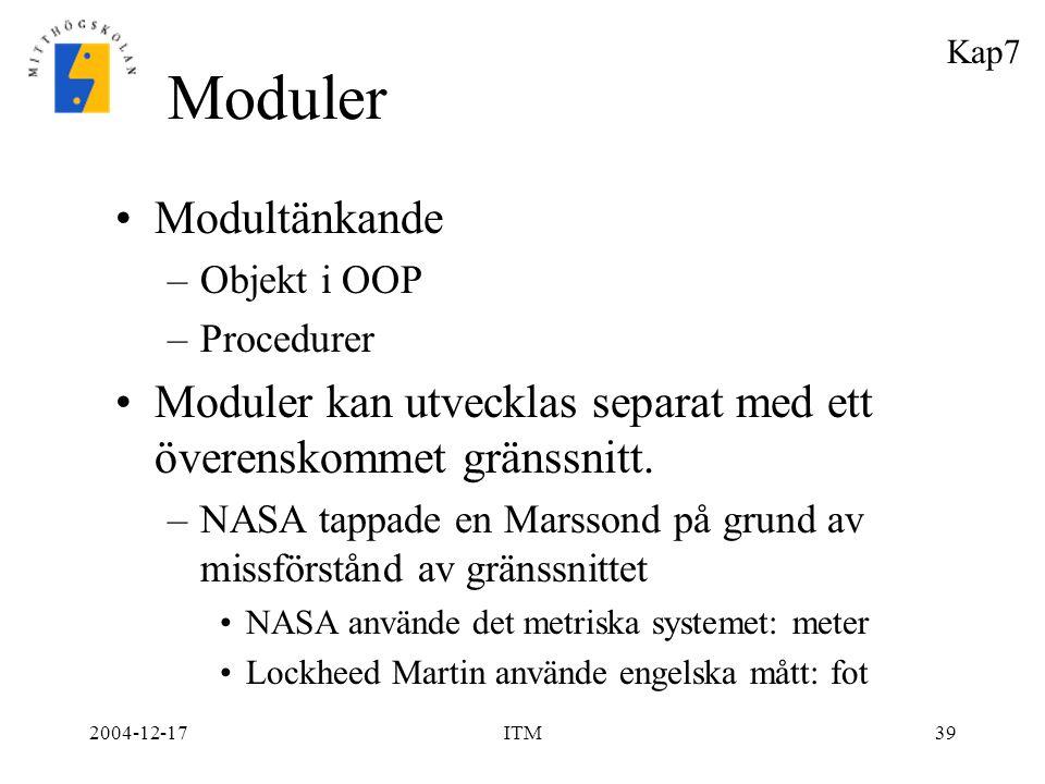 2004-12-17ITM39 Moduler Modultänkande –Objekt i OOP –Procedurer Moduler kan utvecklas separat med ett överenskommet gränssnitt. –NASA tappade en Marss