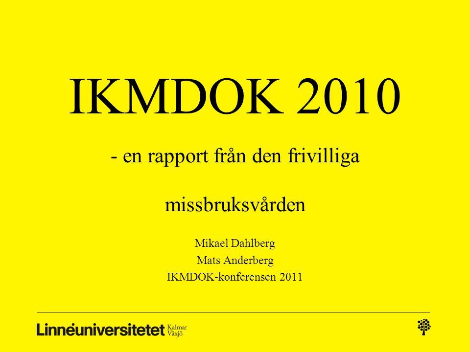 IKMDOK 2010 - en rapport från den frivilliga missbruksvården Mikael Dahlberg Mats Anderberg IKMDOK-konferensen 2011