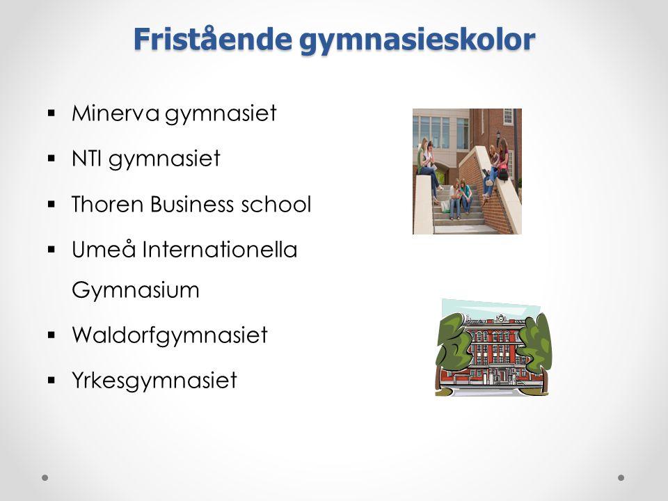 Fristående gymnasieskolor  Minerva gymnasiet  NTI gymnasiet  Thoren Business school  Umeå Internationella Gymnasium  Waldorfgymnasiet  Yrkesgymnasiet