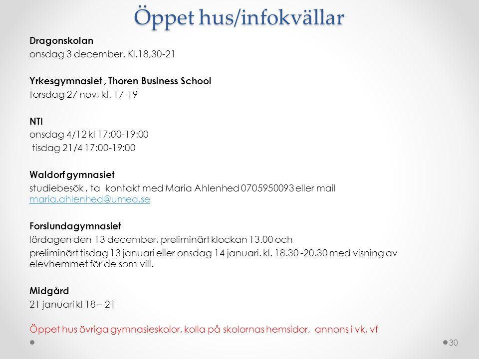 Öppet hus/infokvällar Dragonskolan onsdag 3 december.