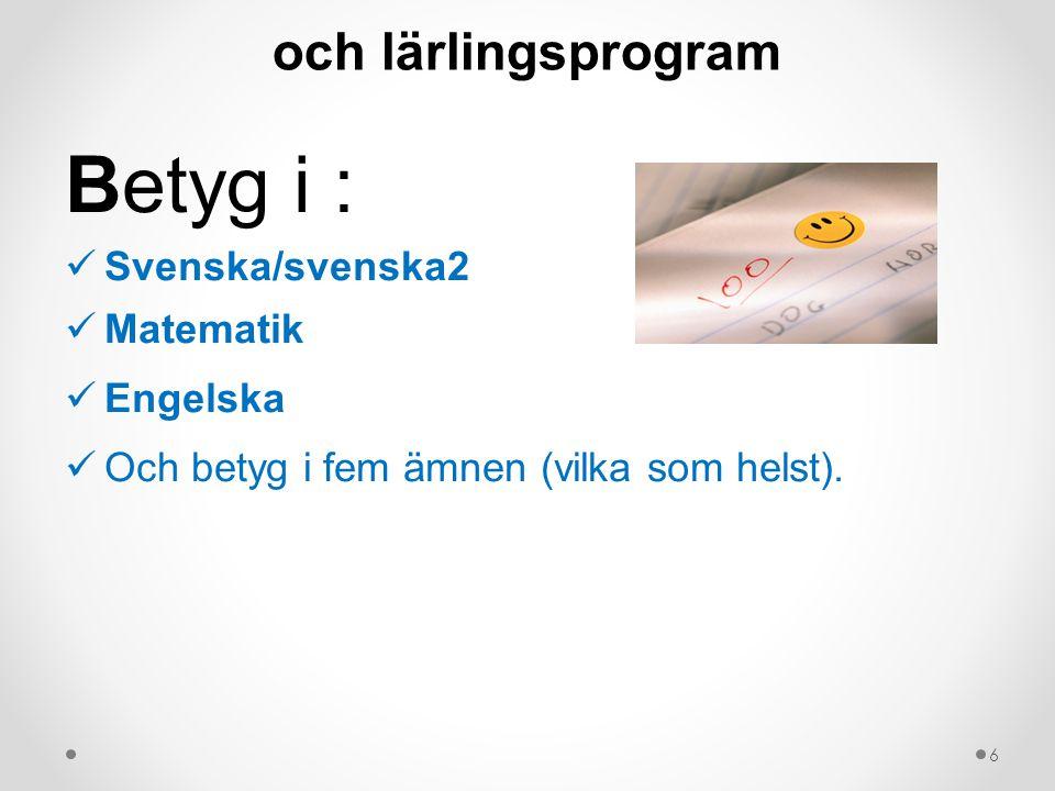 Krav för behörighet till yrkesprogram och lärlingsprogram Betyg i : Svenska/svenska2 Matematik Engelska Och betyg i fem ämnen (vilka som helst).