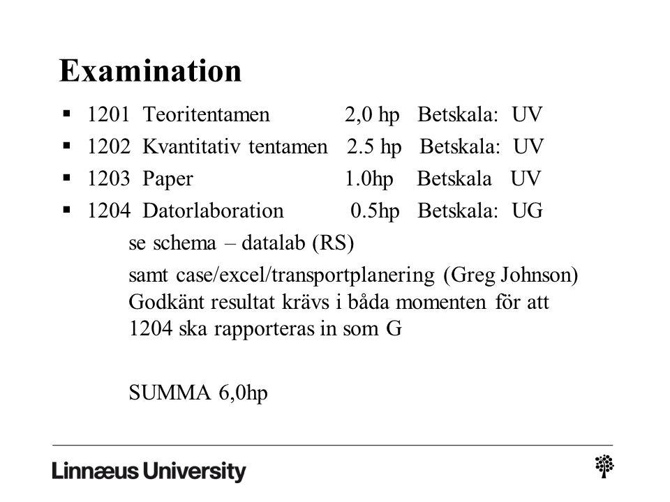 Examination  1201 Teoritentamen 2,0 hp Betskala: UV  1202 Kvantitativ tentamen 2.5 hp Betskala: UV  1203 Paper 1.0hp Betskala UV  1204 Datorlaboration 0.5hp Betskala: UG se schema – datalab (RS) samt case/excel/transportplanering (Greg Johnson) Godkänt resultat krävs i båda momenten för att 1204 ska rapporteras in som G SUMMA 6,0hp