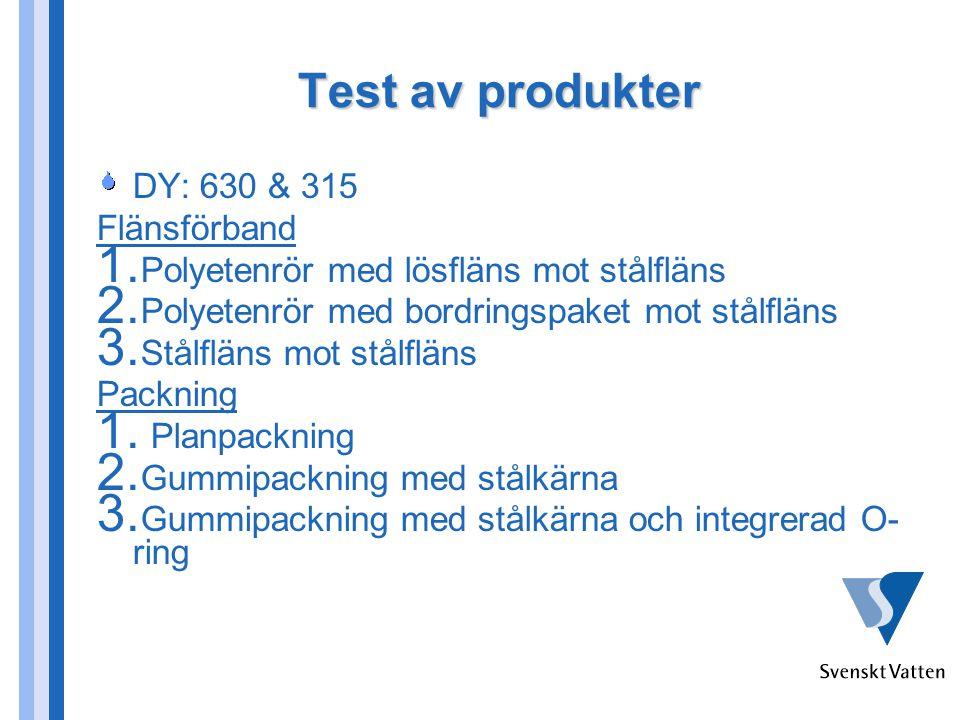Test av produkter DY: 630 & 315 Flänsförband 1.Polyetenrör med lösfläns mot stålfläns 2.