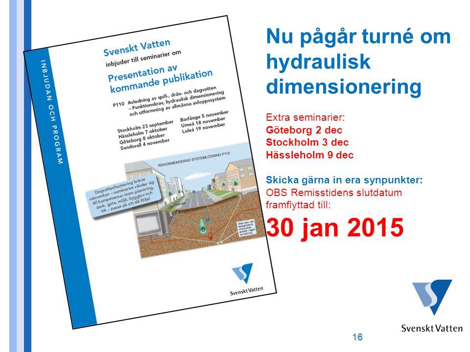 16 Nu pågår turné om hydraulisk dimensionering Extra seminarier: Göteborg 2 dec Stockholm 3 dec Hässleholm 9 dec Skicka gärna in era synpunkter: OBS Remisstidens slutdatum framflyttad till: 30 jan 2015