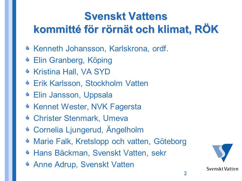 Svenskt Vattens kommitté för rörnät och klimat, RÖK Kenneth Johansson, Karlskrona, ordf.