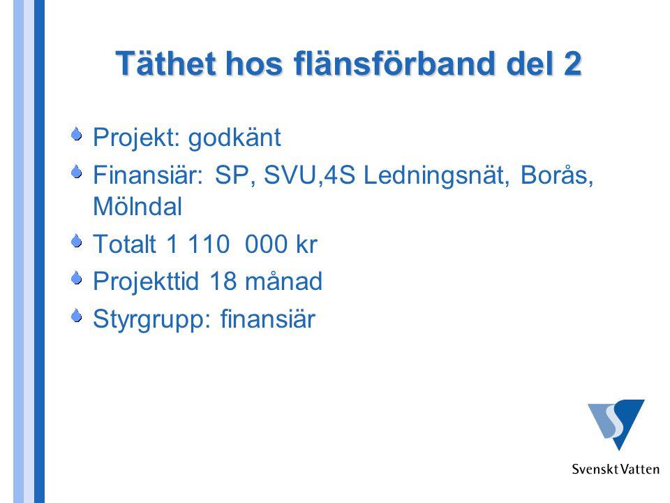 Täthet hos flänsförband del 2 Projekt: godkänt Finansiär: SP, SVU,4S Ledningsnät, Borås, Mölndal Totalt 1 110 000 kr Projekttid 18 månad Styrgrupp: finansiär