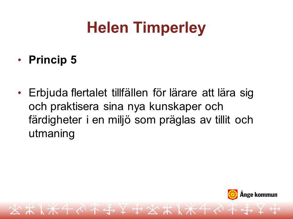 Helen Timperley Princip 5 Erbjuda flertalet tillfällen för lärare att lära sig och praktisera sina nya kunskaper och färdigheter i en miljö som präglas av tillit och utmaning