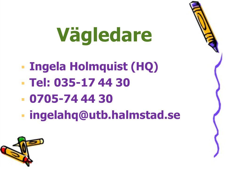 Vägledare   Ingela Holmquist (HQ)   Tel: 035-17 44 30   0705-74 44 30   ingelahq@utb.halmstad.se