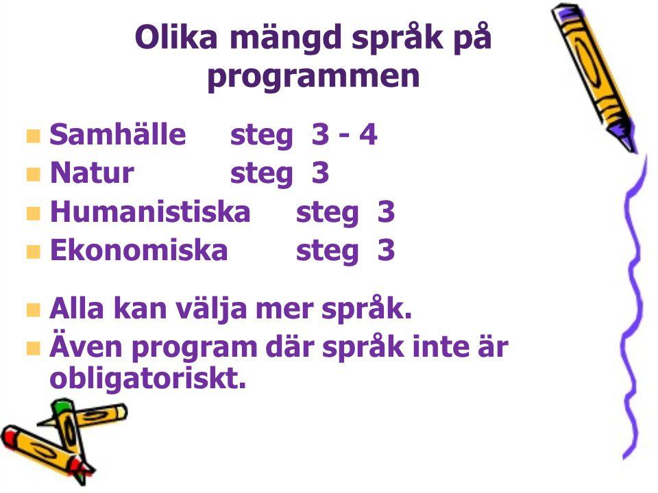 Olika mängd språk på programmen Samhälle steg 3 - 4 Natur steg 3 Humanistiska steg 3 Ekonomiska steg 3 Alla kan välja mer språk. Även program där språ