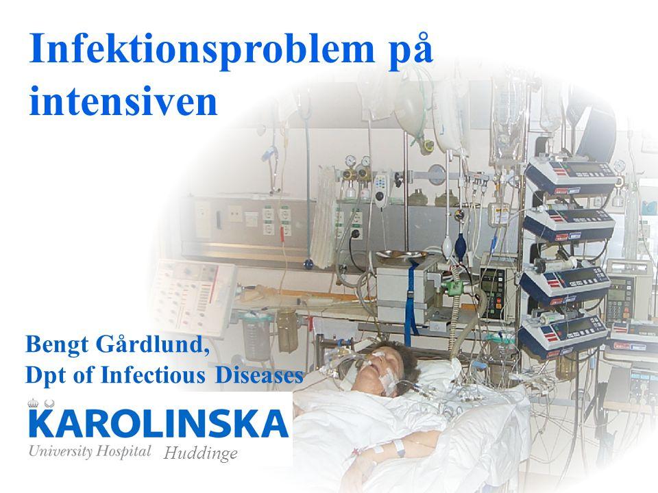 Nekrotiserande fasciit Initialt antibiotikaval Karolinska: Imipenem (Tienam) 1 g iv vid chock även Gensumycin 4 mg/kg x 1 vid misstanke streptokockinf även Dalacin 600 mgx3 iv
