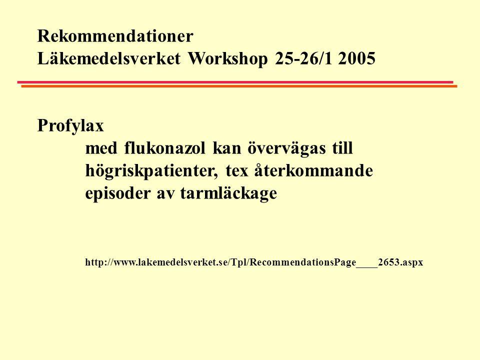 Rekommendationer Läkemedelsverket Workshop 25-26/1 2005 Profylax med flukonazol kan övervägas till högriskpatienter, tex återkommande episoder av tarm