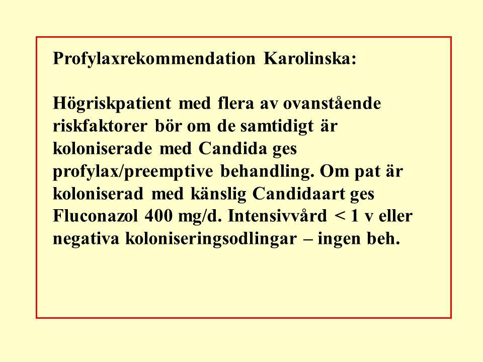 Profylaxrekommendation Karolinska: Högriskpatient med flera av ovanstående riskfaktorer bör om de samtidigt är koloniserade med Candida ges profylax/p
