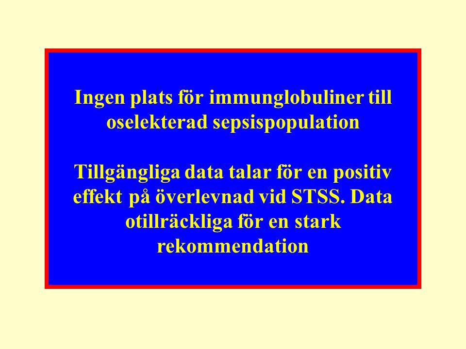 Ingen plats för immunglobuliner till oselekterad sepsispopulation Tillgängliga data talar för en positiv effekt på överlevnad vid STSS. Data otillräck