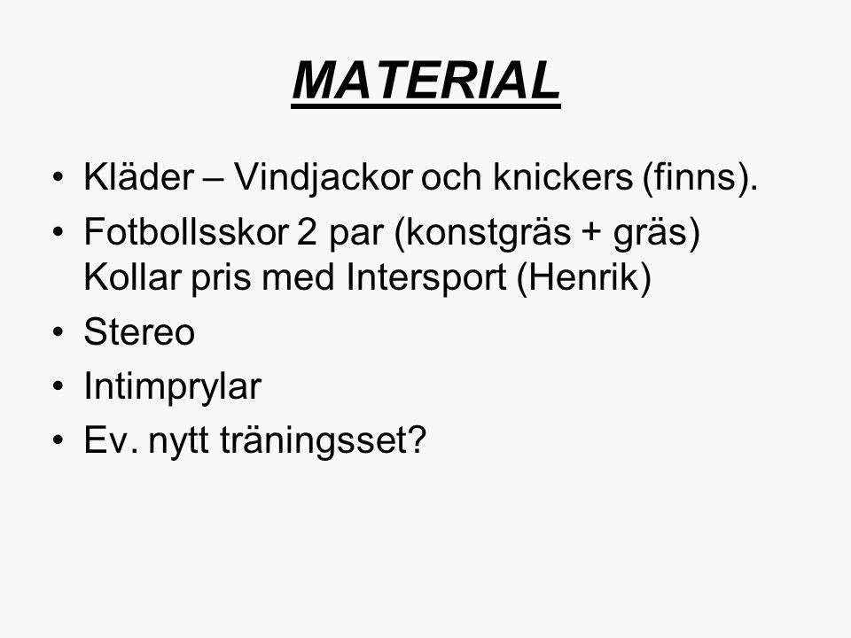 MATERIAL Kläder – Vindjackor och knickers (finns). Fotbollsskor 2 par (konstgräs + gräs) Kollar pris med Intersport (Henrik) Stereo Intimprylar Ev. ny
