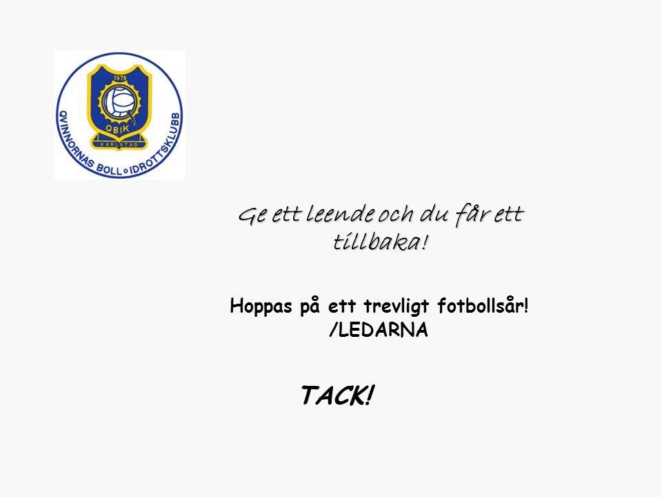 TACK! Ge ett leende och du får ett tillbaka! Hoppas på ett trevligt fotbollsår! /LEDARNA