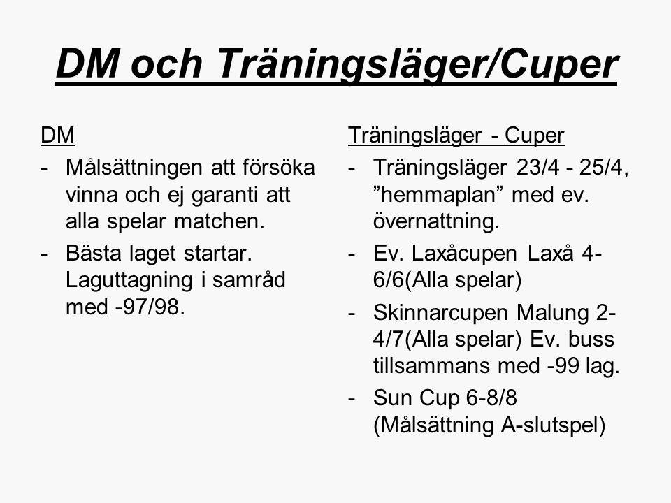 DM och Träningsläger/Cuper DM -Målsättningen att försöka vinna och ej garanti att alla spelar matchen. -Bästa laget startar. Laguttagning i samråd med