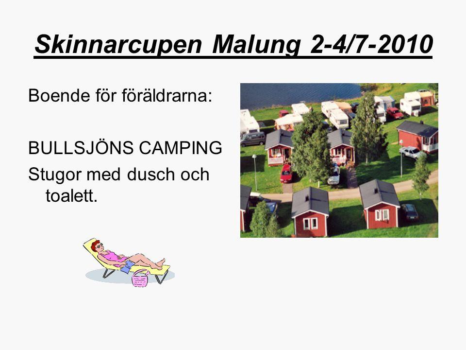 Skinnarcupen Malung 2-4/7-2010 Boende för föräldrarna: BULLSJÖNS CAMPING Stugor med dusch och toalett.