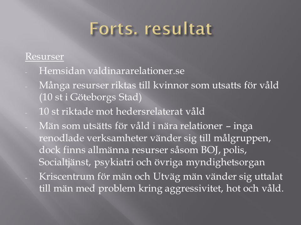 Resurser - Hemsidan valdinararelationer.se - Många resurser riktas till kvinnor som utsatts för våld (10 st i Göteborgs Stad) - 10 st riktade mot hedersrelaterat våld - Män som utsätts för våld i nära relationer – inga renodlade verksamheter vänder sig till målgruppen, dock finns allmänna resurser såsom BOJ, polis, Socialtjänst, psykiatri och övriga myndighetsorgan - Kriscentrum för män och Utväg män vänder sig uttalat till män med problem kring aggressivitet, hot och våld.
