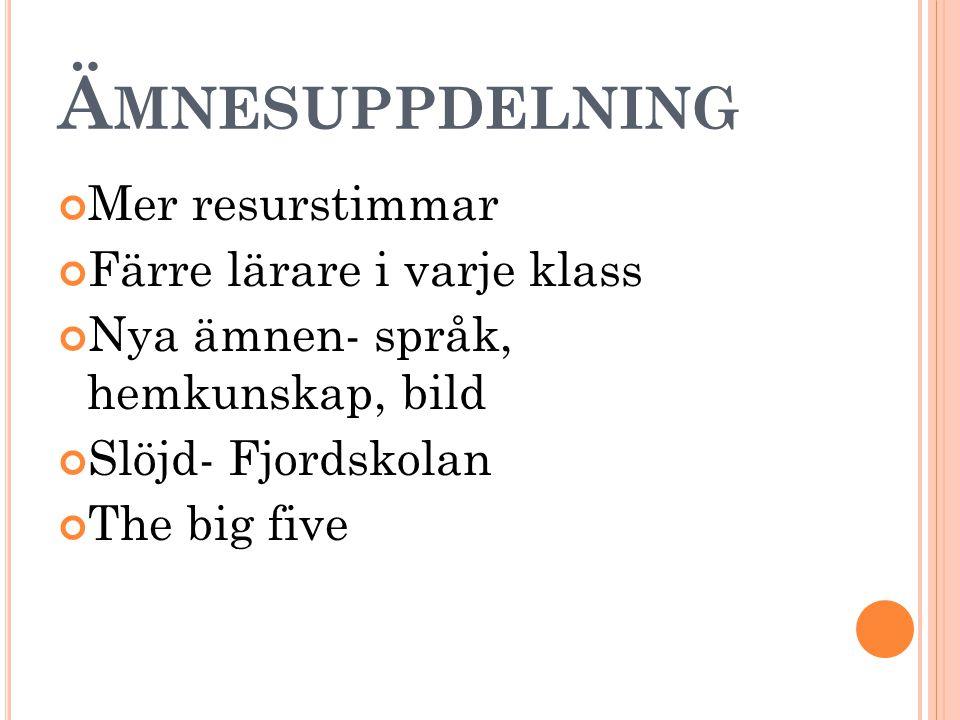 Ä MNESUPPDELNING Mer resurstimmar Färre lärare i varje klass Nya ämnen- språk, hemkunskap, bild Slöjd- Fjordskolan The big five