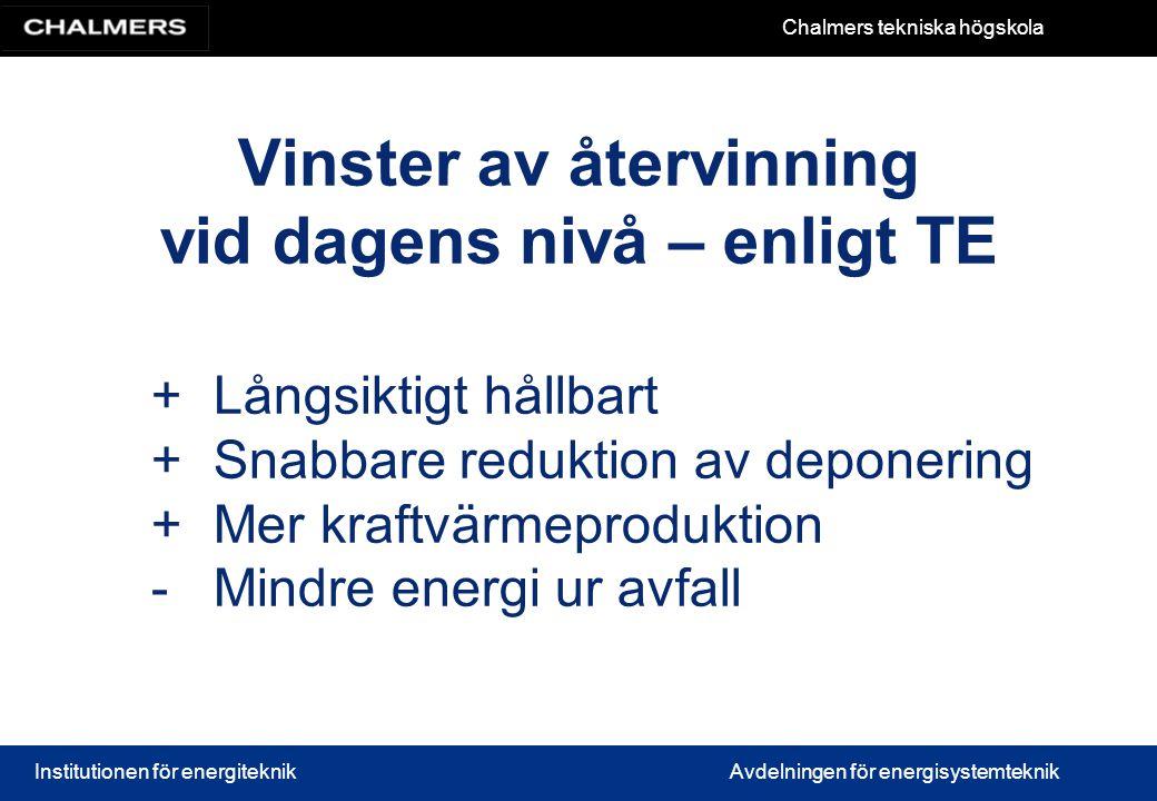 Chalmers tekniska högskola Institutionen för energiteknikAvdelningen för energisystemteknik Vinster av återvinning vid dagens nivå – enligt TE +Långsi