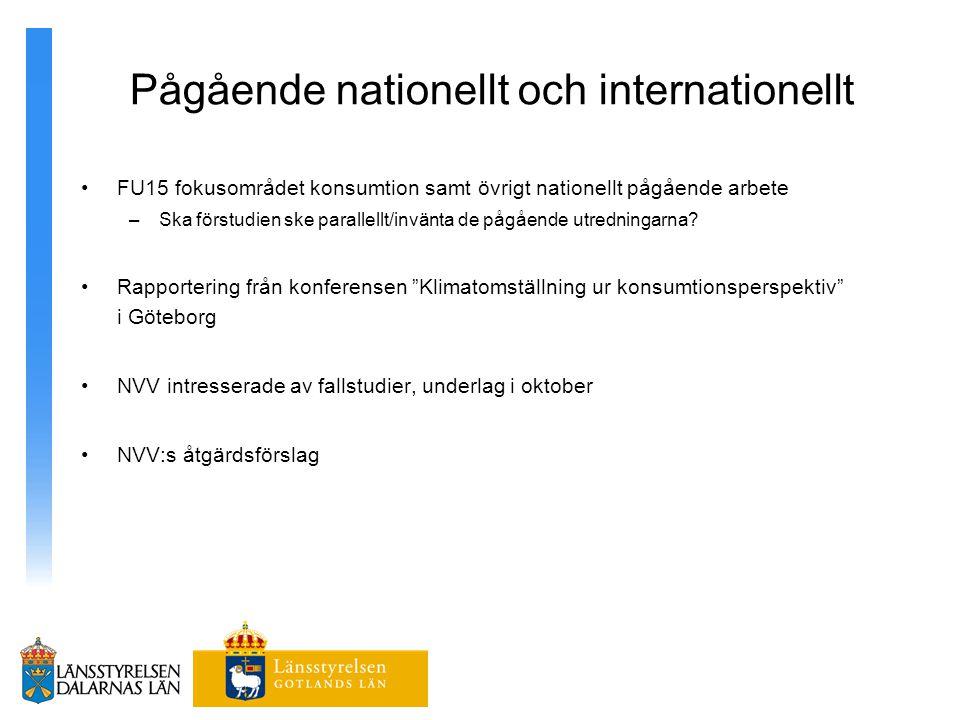 Pågående nationellt och internationellt FU15 fokusområdet konsumtion samt övrigt nationellt pågående arbete –Ska förstudien ske parallellt/invänta de