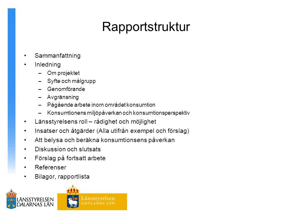 Rapportstruktur Sammanfattning Inledning –Om projektet –Syfte och målgrupp –Genomförande –Avgränsning –Pågående arbete inom området konsumtion –Konsum