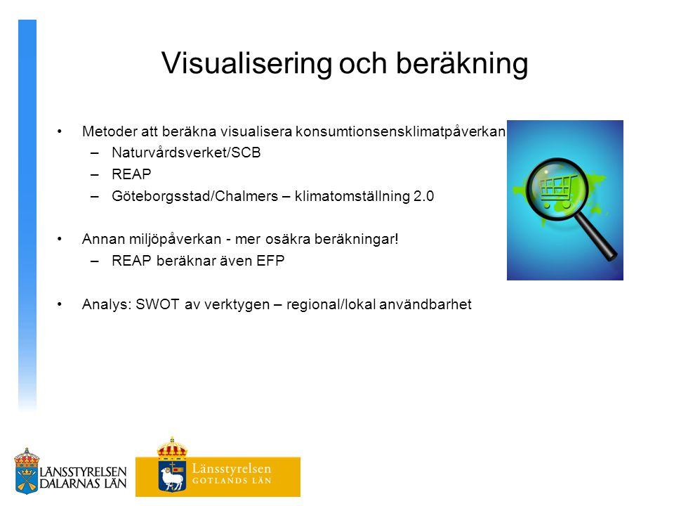 Visualisering och beräkning Metoder att beräkna visualisera konsumtionsensklimatpåverkan –Naturvårdsverket/SCB –REAP –Göteborgsstad/Chalmers – klimato