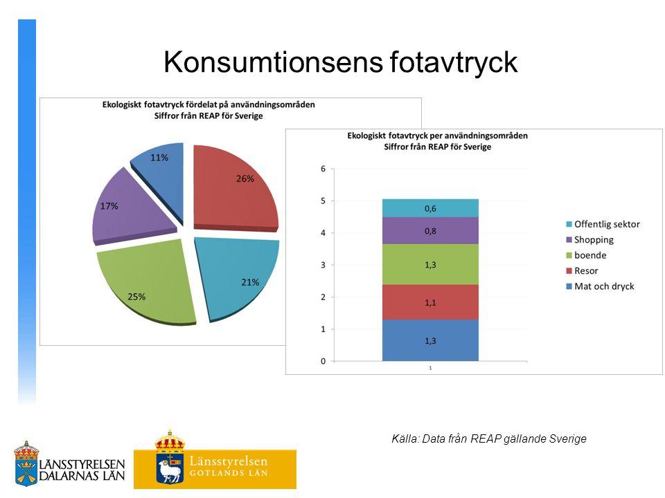 Konsumtionsens fotavtryck Källa: Data från REAP gällande Sverige