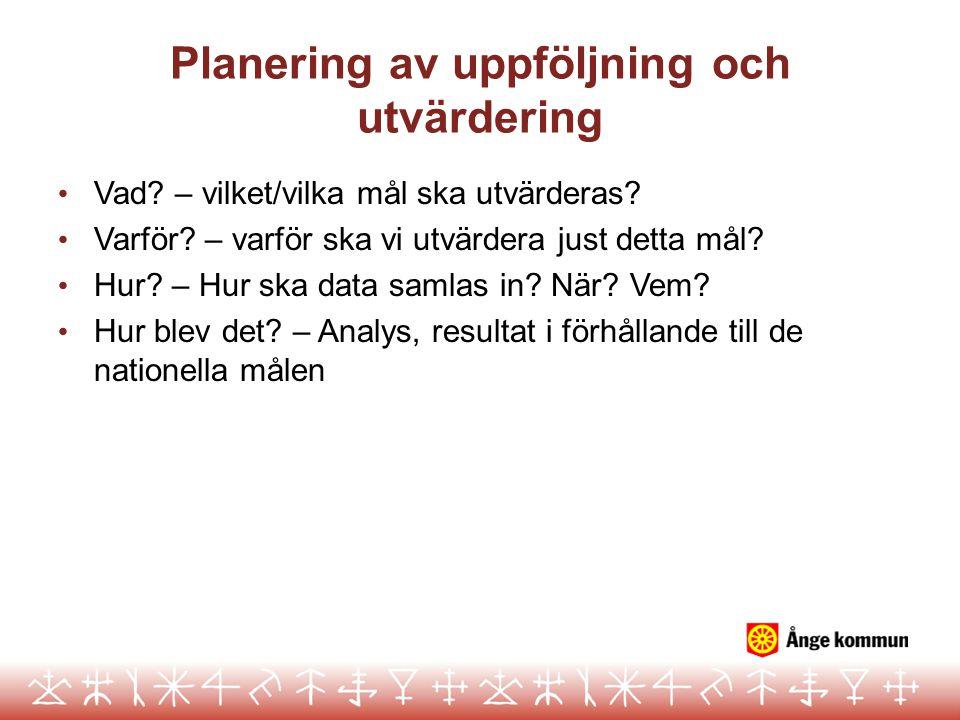 Planering av uppföljning och utvärdering Vad? – vilket/vilka mål ska utvärderas? Varför? – varför ska vi utvärdera just detta mål? Hur? – Hur ska data