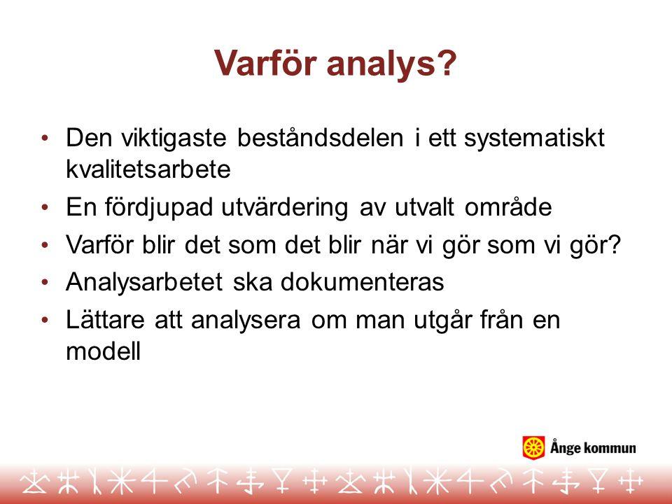 Varför analys? Den viktigaste beståndsdelen i ett systematiskt kvalitetsarbete En fördjupad utvärdering av utvalt område Varför blir det som det blir