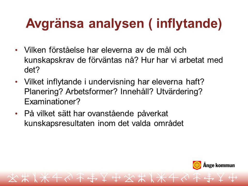 Avgränsa analysen ( inflytande) Vilken förståelse har eleverna av de mål och kunskapskrav de förväntas nå? Hur har vi arbetat med det? Vilket inflytan
